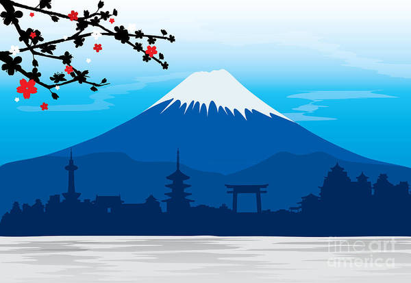 Wall Art - Digital Art - Mountain Fuji Japan Sakura View by Ienjoyeverytime