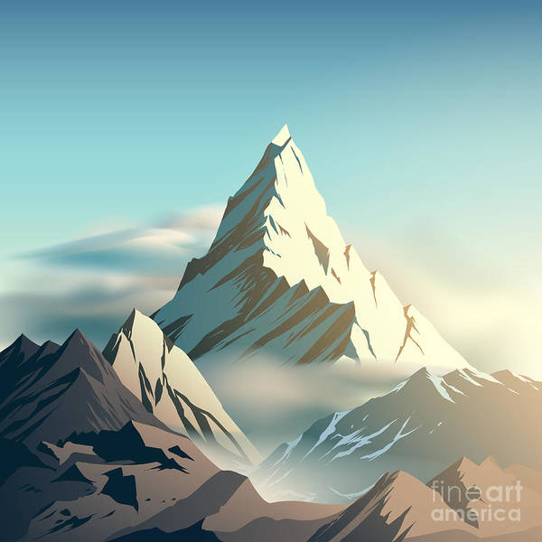 Wall Art - Digital Art - Mountain Illustration by D1sk