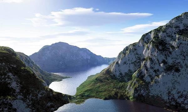 Majestic Digital Art - Mountain Lake, Artwork by Leonello Calvetti