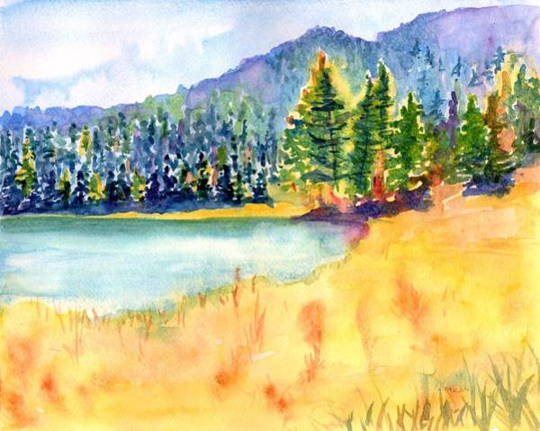 Painting - Mountain Lake Landscape by Carlin Blahnik CarlinArtWatercolor