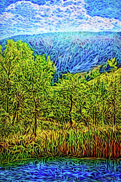 Digital Art - Mountain Lake Trees by Joel Bruce Wallach