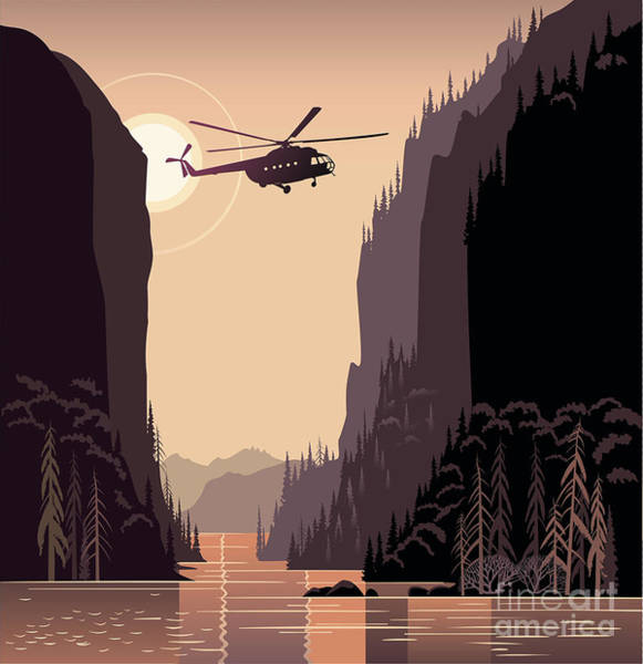 Wall Art - Digital Art - Mountain Landscape And Helicopter by Rustic