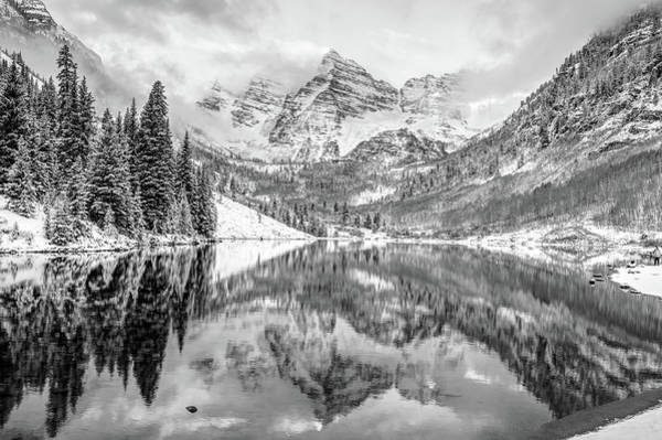 Photograph - Mountain Landscape Reflections Of Maroon Bells Colorado - Monochrome by Gregory Ballos