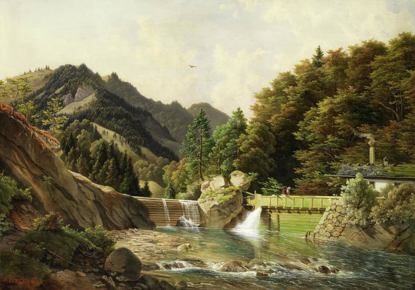 Wall Art - Painting - Mountain Landscape With Grosser Bachschleuse by Michael Lueger