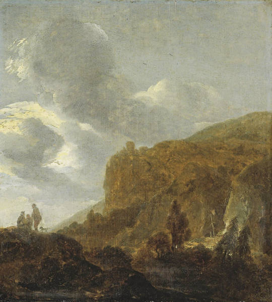 Painting - Mountain Landscape With Travellers by Guillam Du Bois