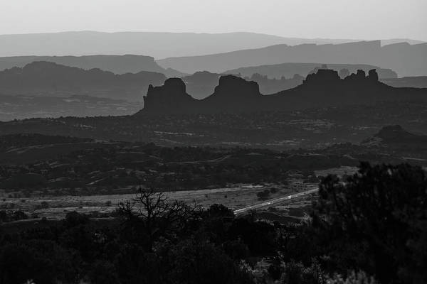 Photograph - Mountain Layers Of Moab Utah - Black And White by Gregory Ballos