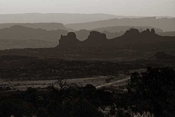 Photograph - Mountain Layers Of Moab Utah - Classic Sepia by Gregory Ballos