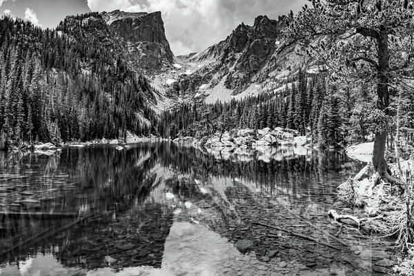 Wall Art - Photograph - Mountain Peak Landscape On Dream Lake - Monochrome by Gregory Ballos