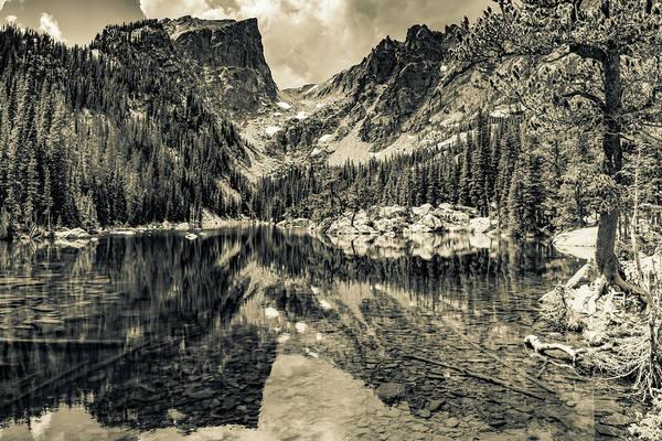 Wall Art - Photograph - Mountain Peak Landscape On Dream Lake - Sepia by Gregory Ballos