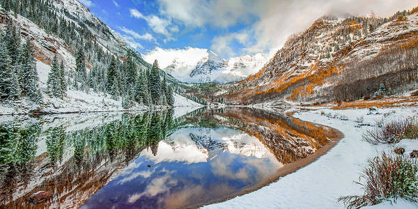 Wall Art - Photograph - Mountain Peak Panorama Of Maroon Bells - Aspen Colorado by Gregory Ballos