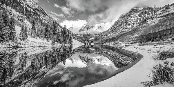 Wall Art - Photograph - Mountain Peak Panorama Of Maroon Bells - Aspen Colorado In Monochrome by Gregory Ballos