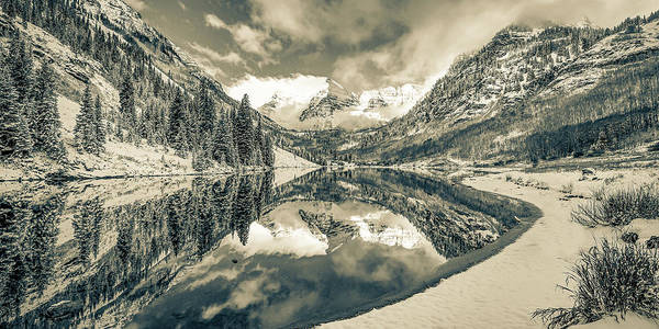 Wall Art - Photograph - Mountain Peak Panorama Of Maroon Bells - Aspen Colorado In Sepia by Gregory Ballos