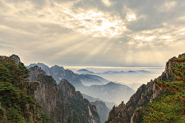 Wall Art - Photograph - Mountain Peaks And Mist by Adam Jones