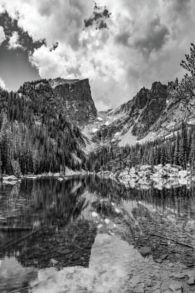 Wall Art - Photograph - Mountain Peaks On Dream Lake - Monochrome by Gregory Ballos