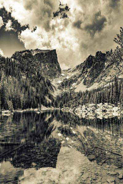 Wall Art - Photograph - Mountain Peaks On Dream Lake - Sepia by Gregory Ballos
