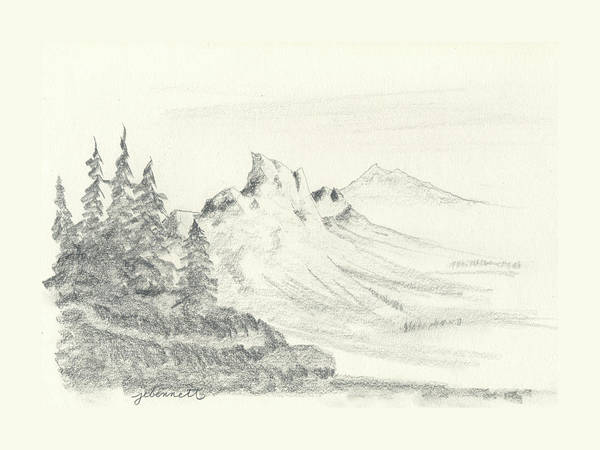 Impressionistic Landscape Drawing - Mountain Pines by John Bennett
