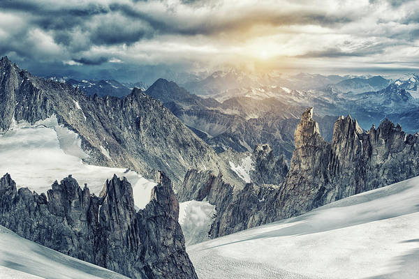 Mont Blanc Wall Art - Photograph - Mountain Range In The Mont Blanc Massif by Buena Vista Images