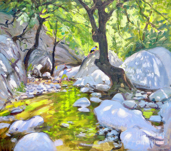 Wall Art - Painting - Mountain Stream, Lefkas, Greece by Andrew Macara