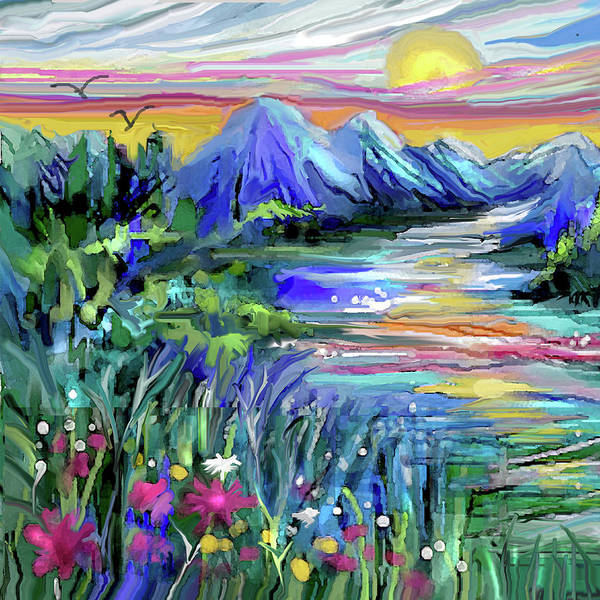 Digital Art - Mountain Stream Sunrise by Jean Batzell Fitzgerald