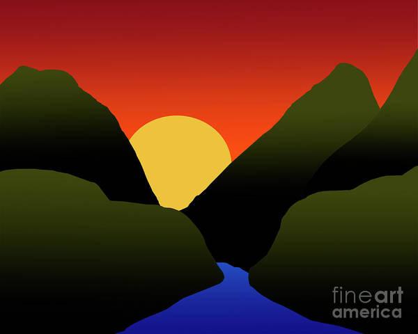 Digital Art - Mountain Sunset by Kirt Tisdale