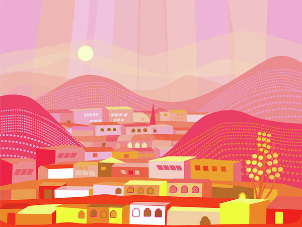 Exterior Digital Art - Mountain Town by Charles Harker