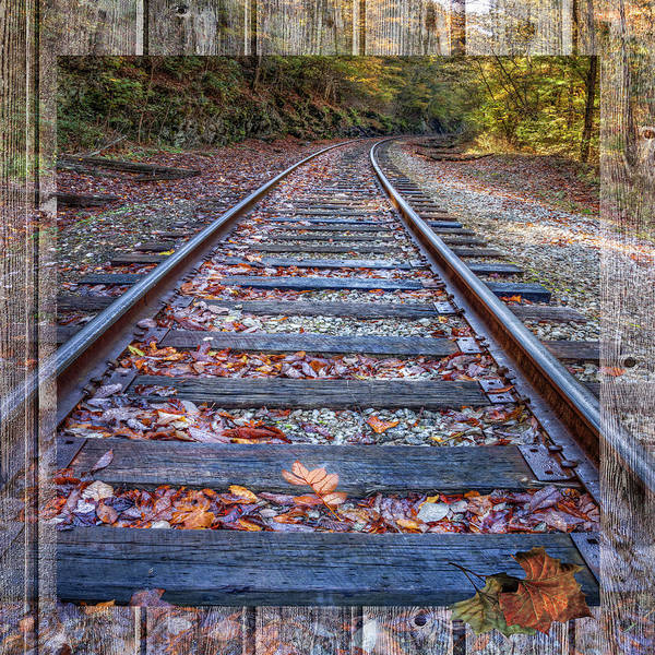 Photograph - Mountain Tracks Bordered Square by Debra and Dave Vanderlaan