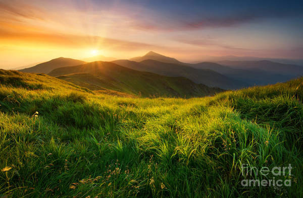 Wall Art - Photograph - Mountain Valley During Sunrise. Natural by Biletskiy