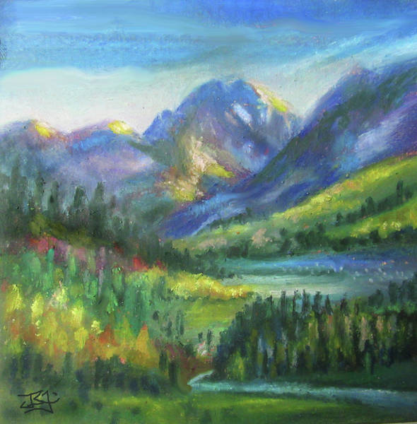 Pastel - Mountain Valley by Jean Batzell Fitzgerald