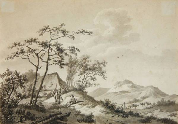 Wall Art - Painting - Mountainous Landscape With Three Ramblers by Barend Cornelis