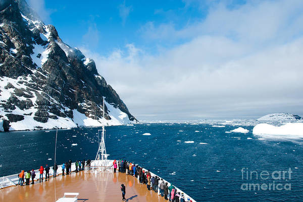 Wall Art - Photograph - Mountains And Cruise Ship In Antarctica by Ayamik