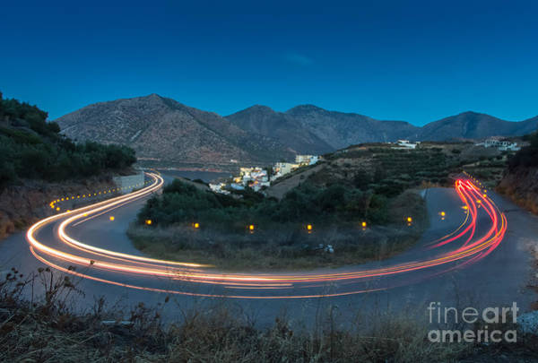 Curving Photograph - Mountains And Curve Road With Lighting by Zakhar Mar