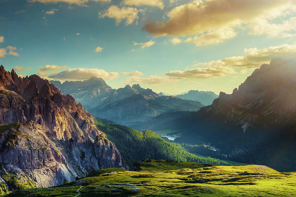 Dolomites Photograph - Mountains And Valley At Sunset by Mammuth