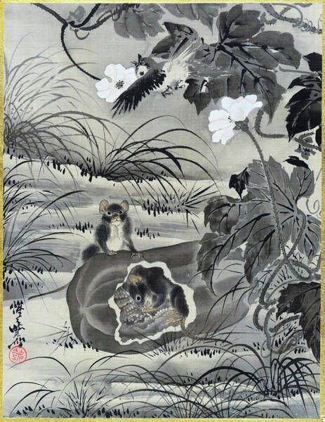 Wall Art - Painting - Mouse In A Melon - Digital Remastered Edition by Kawanabe Kyosai