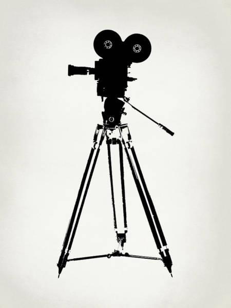 Wall Art - Digital Art - Movie Film Camera Black White by Flo Karp