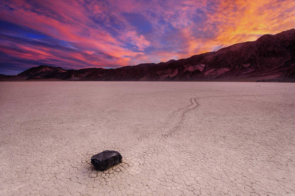 Racetrack Playa Photograph - Moving Rock At Death Valley by Piriya Photography