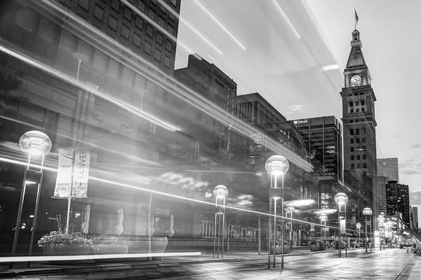 Photograph - Moving Through Denver Colorado - Black And White by Gregory Ballos