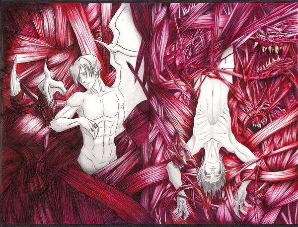 Anorexia Drawing - Trapped In Meat Webs by Ace Bright