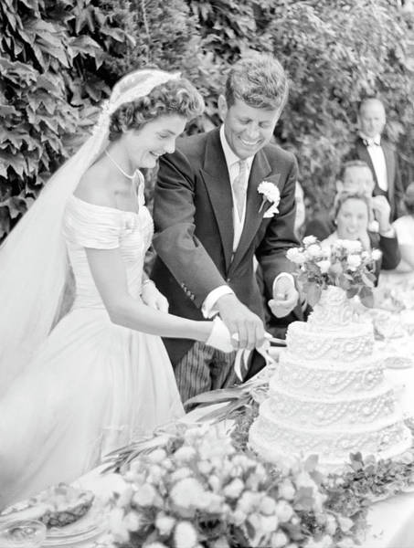 Wall Art - Photograph - Mr. And Mrs. John F. Kennedy Cut The Wedding Cake 1953 by Daniel Hagerman