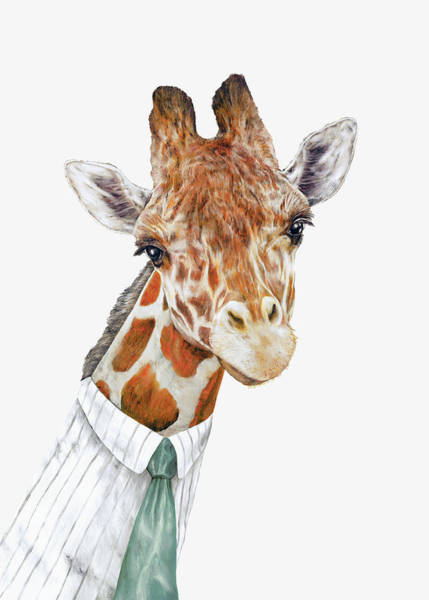 Animals In Clothes Wall Art - Painting - Mr Giraffe by Animal Crew