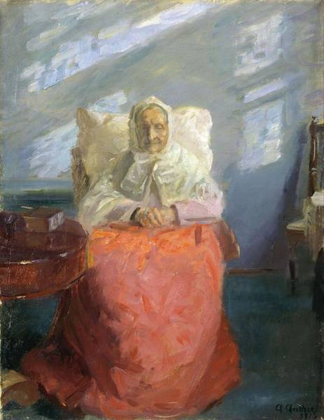 Wall Art - Painting - Mrs Ane Brndum In The Blue Room  by Anna Ancher