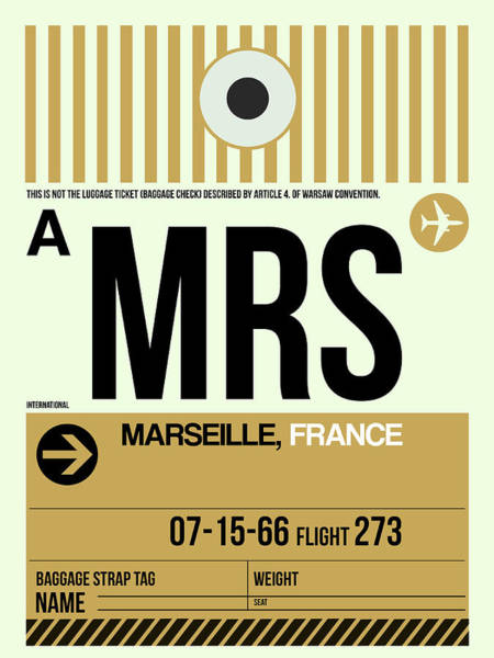 Wall Art - Digital Art - Mrs Marseille Luggage Tag I by Naxart Studio