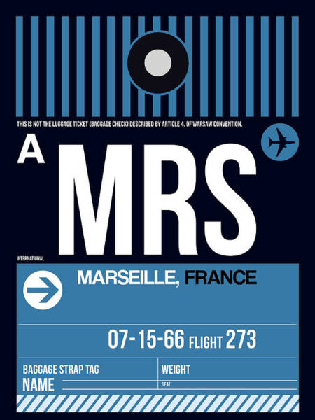 Wall Art - Digital Art - Mrs Marseille Luggage Tag II by Naxart Studio