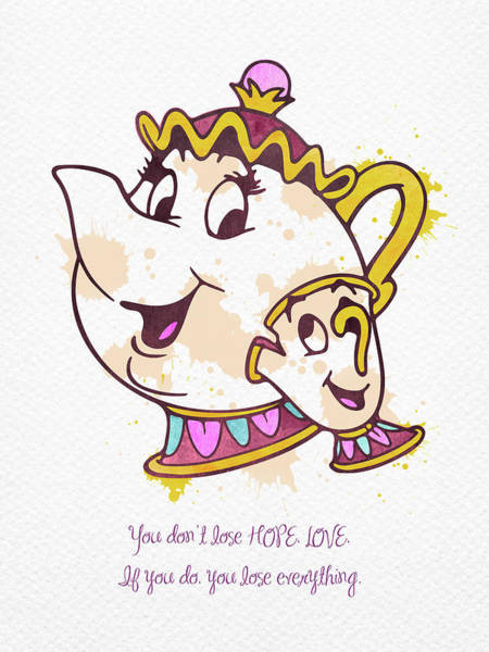Mrs Wall Art - Digital Art - Mrs Potts And Chip Watercolor by Mihaela Pater