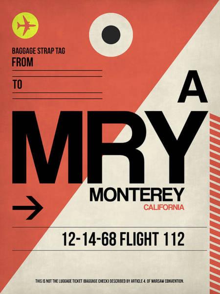 Travel Destination Wall Art - Digital Art - Mry Monterey Luggage Tag I by Naxart Studio