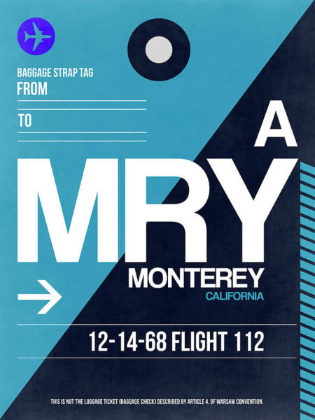 Travel Destination Wall Art - Digital Art - Mry Monterey Luggage Tag II by Naxart Studio