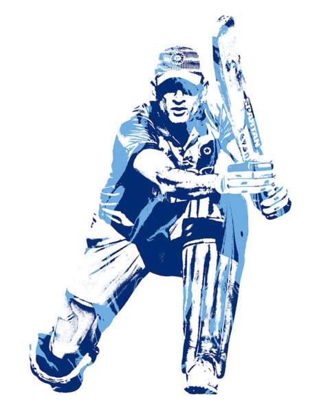 Ms Mixed Media - Ms Dhoni International Cricket Player Pixel Art 1 by Joe Hamilton