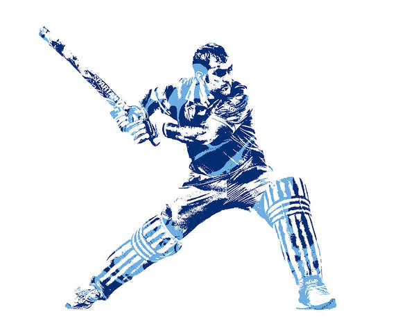 Ms Mixed Media - Ms Dhoni International Cricket Player Pixel Art 2 by Joe Hamilton