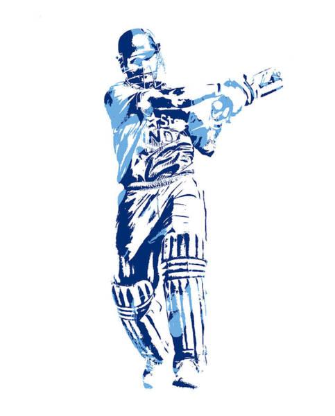 Ms Mixed Media - Ms Dhoni International Cricket Player Pixel Art 3 by Joe Hamilton