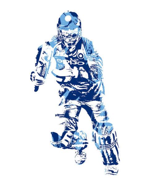 Ms Mixed Media - Ms Dhoni International Cricket Player Pixel Art 4 by Joe Hamilton
