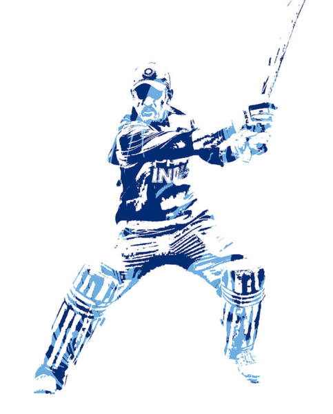 Ms Mixed Media - Ms Dhoni International Cricket Player Pixel Art 5 by Joe Hamilton